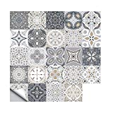 24 PCS Moroccan Style Tile Sticker, 4x4 Inch(10x10cm) Traditional DIY Murals, Tile Waterproof Oil Proof Removable Decals for Bathroom & Kitchen Backsplash 102