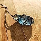 Colgante de cristal de fluorita natural con cuerda, piedra de cristal de cuarzo azul-verde, tratamiento de fluorita piedra flúorita colgante en color al azar