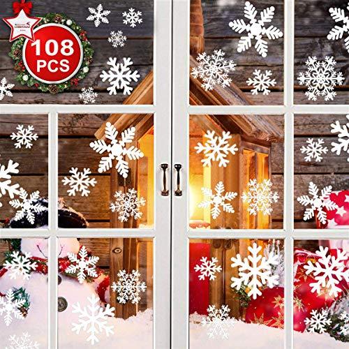 YQHbe Fensterbilder Weihnachten, 108 Schneeflocken Fenster Aufkleber, Weiß Selbstklebend Fensterbilder Schneeflocken für Weihnachtsdeko, Winter Fenster Deko Wiederverwendbar Aufkleber Schneeflocken