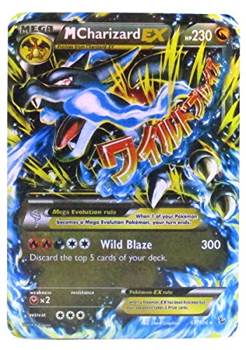 """New Mega Cards New Set of Charizard Mega EX 69/106 Flash Cards Standard English Cards 2.5"""" x 3.5"""" Come with Random 2 GX and 2 GX Cards in Plastic Box Case"""