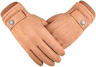 SGJFZD Winter Gloves Outdoor Suede Touch Screen Gloves Walking Cycling and Running for Men Women Thermal Gloves (Color : Beige, Size : OneSize)