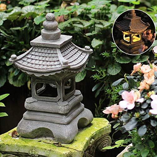 Outdoor Japanese Style Solar Zen Garden Lights Lantern Pagoda Light Solar Garden Lamp Statue FarmhouseBalcony Creative Decoration Lamp -17 * 34cm Grey
