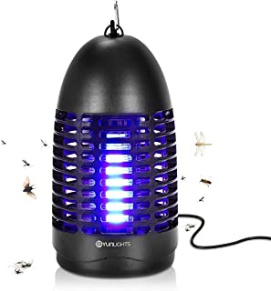 YUNLIGHTS Bug Zapper - Indoor Mosquito Zapper Electric Mosquito Fly Killer with Hook, Hanging Standing Mosquito Lamp Indoor, Flying Insect Trap for Indoor Use (Black)