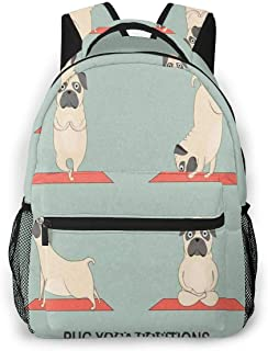 Travel Laptop Backpack Casual Backpack Yoga Pugs Set, Anti Theft Durable Computer Bag, Water Resistant College School Bag for Women Men Fits 14 Inch Notebook