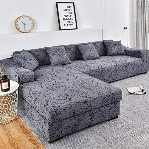 Einfach zu installierender und bequemer Sofa Sofa-Cover, L-förmige Sofaabdeckungen für Wohnzimmer elastische Sofa Slipcover Couch Cover Stretch Eck Sofa Cover Chaise Longue Bedarfsbedarf 2 stücke kauf
