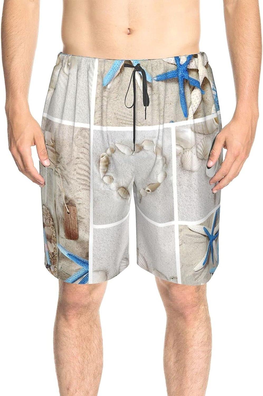 JINJUELS Men's Swim Shorts Sea-Shells Starfish Beach Swim Short Boardshort Drawstring 3D Printed Surf Beach Shorts