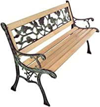 Festnight Garden Bench, Outdoor Garden Patio Park Chair with Rose Patterned Backrest 122 x 51 x 73 cm