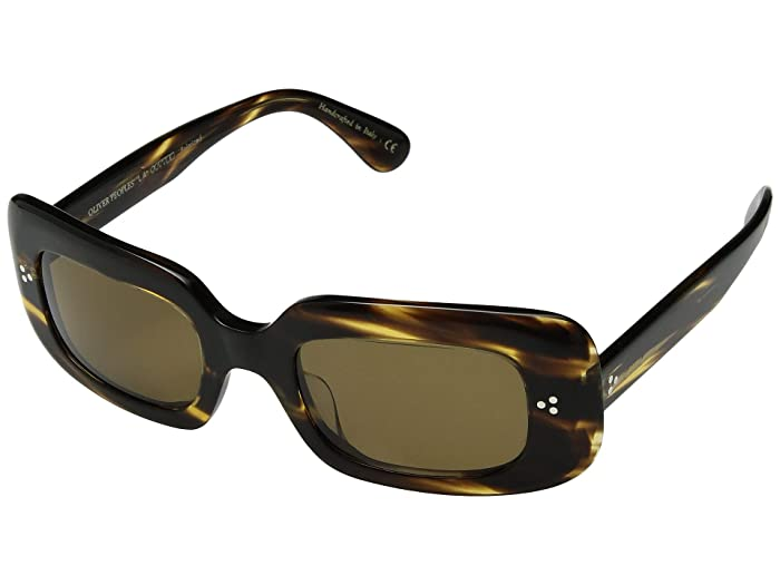 Oliver Peoples Saurine (Cocobolo/Brown Lens) Fashion Sunglasses