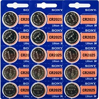 CR2025 Battery Lithium Coin Batteries (Pack of 15) by Sony