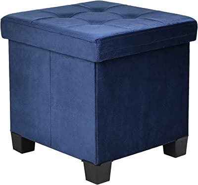 BRIAN & DANY Foldable Velvet Tufted Storage Ottoman with Wooden Lid, Cube Footstool with Wooden Legs & Highly Elastic Sponge Filling, BLUE
