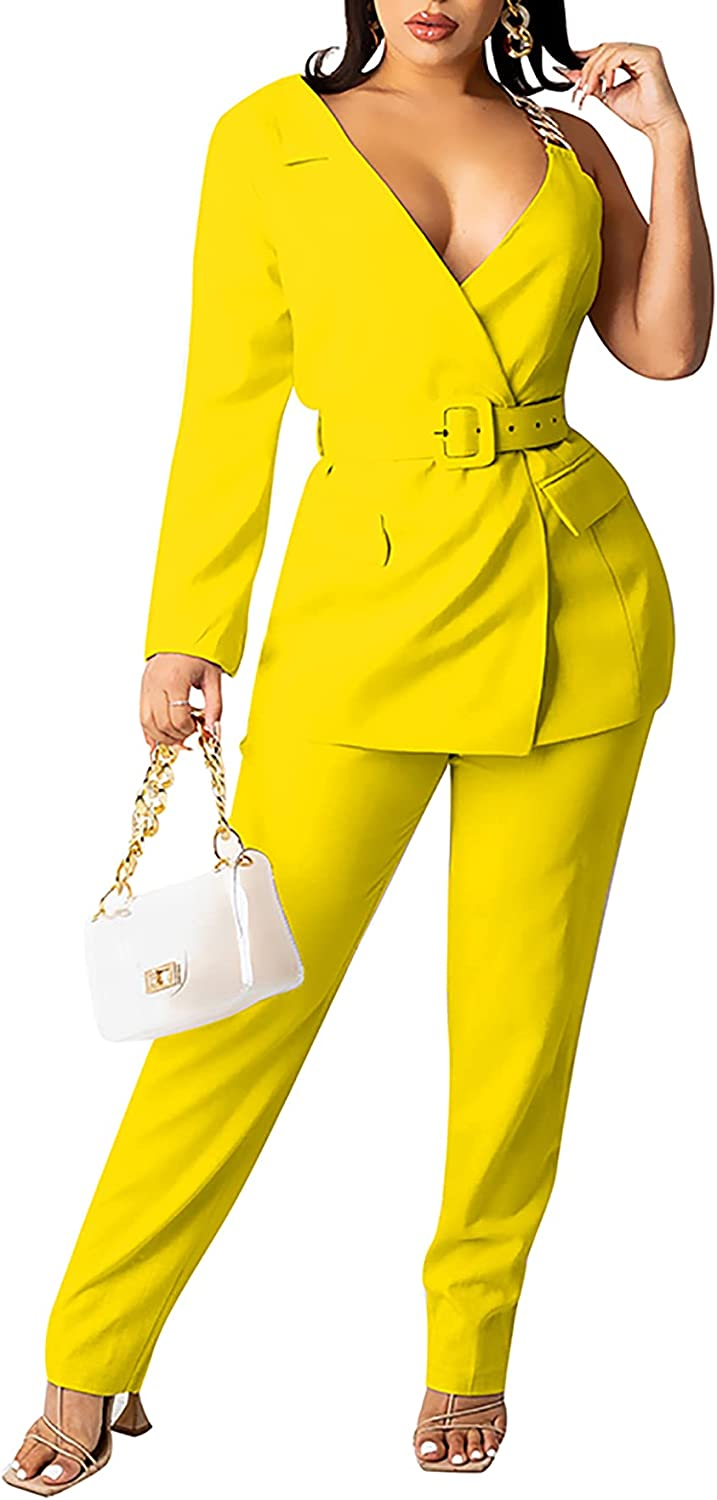 MESLIMA 2 Piece Outfits for Women Long Sleeve Solid Color Sexy V-neck Blazer with Pants Casual Elegant Business Sets