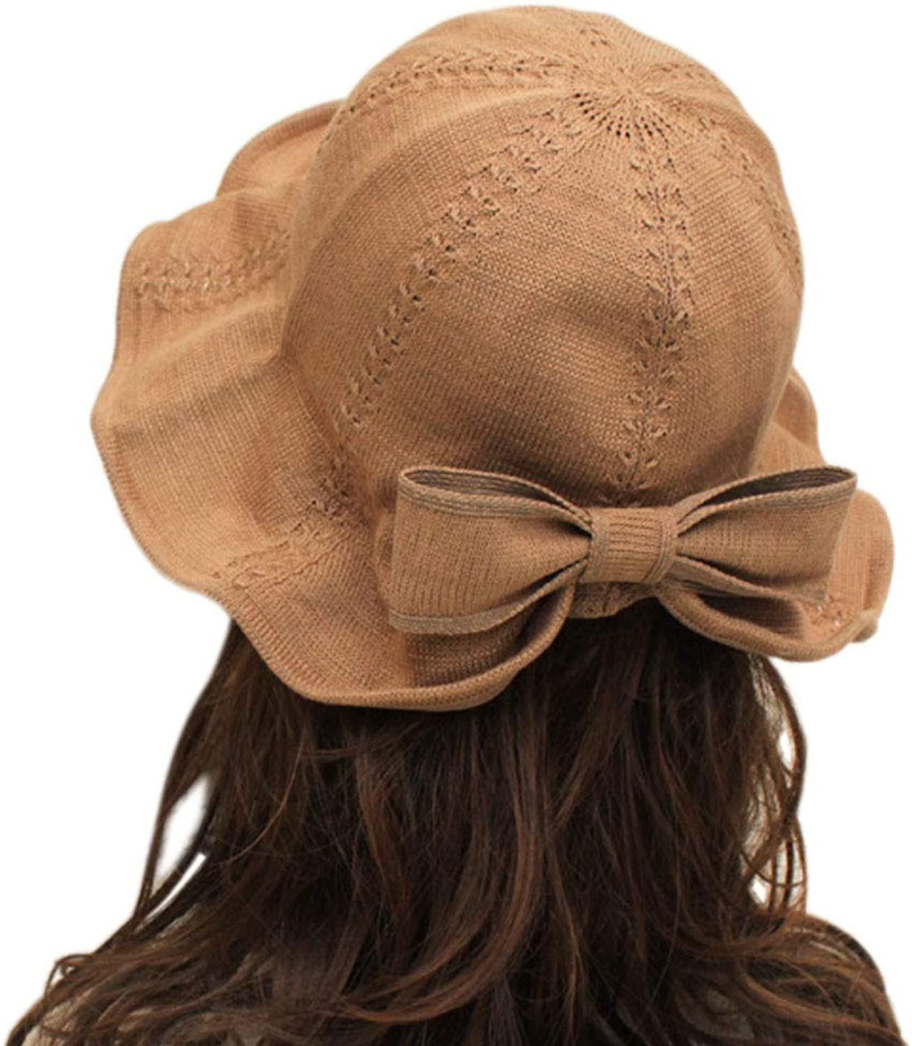 Andy&Esther Cotton Knit Bucket Hat for Women Foldable Floral Sun Hat Stretchy Summer Hats Bowknot