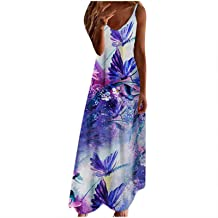 Zomerjurk voor dames, modieuze casual losse sling mid-waist v-hals mouwloos bedrukt slank gedrapeerd strand lange jurk