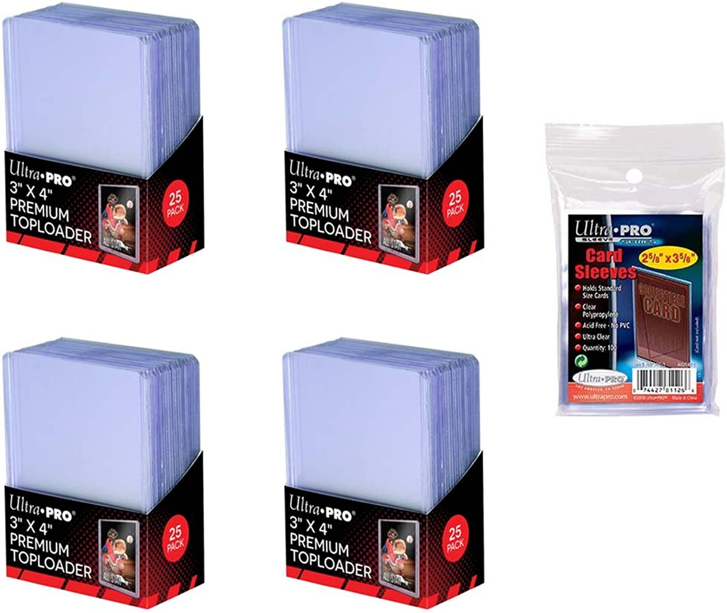 Ultra Pro 3  x 4  Clear Premium Top Loaders100 Total + Ultra Pro Clear Soft Sleeves100 Total