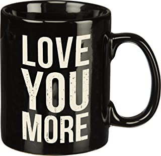 Primitives by Kathy 19280 Black and White Stoneware Coffee Mug, 20-Ounce, Love You More