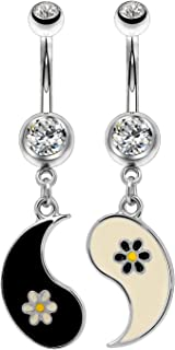 yin and yang belly button rings