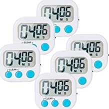 6 Pack Small Digital Kitchen Timer Magnetic Back And ON/OFF Switch,Minute Second Count Up Countdown