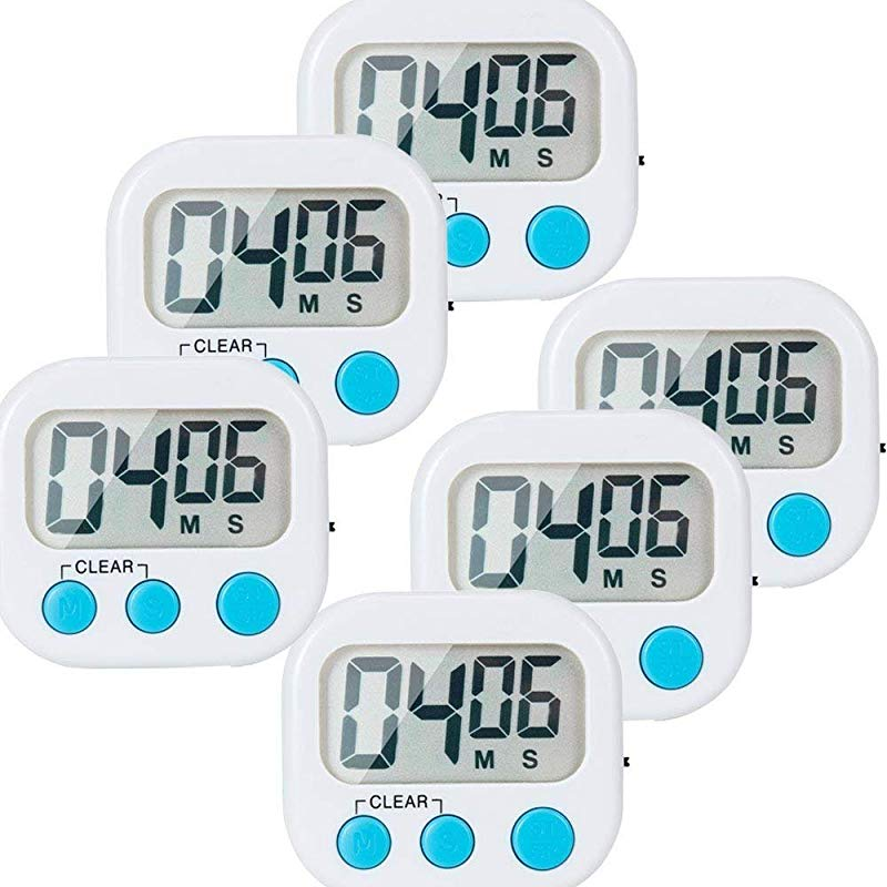 6 Pack Small Digital Kitchen Timer Magnetic Back And ON OFF Switch Minute Second Count Up Countdown
