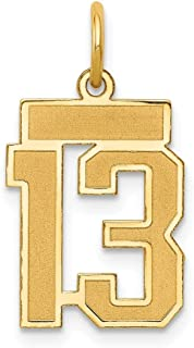 14k Yellow Gold Small Number 13 Pendant Charm Necklace Sport Laser Etched Fine Jewelry Gifts For Women For Her