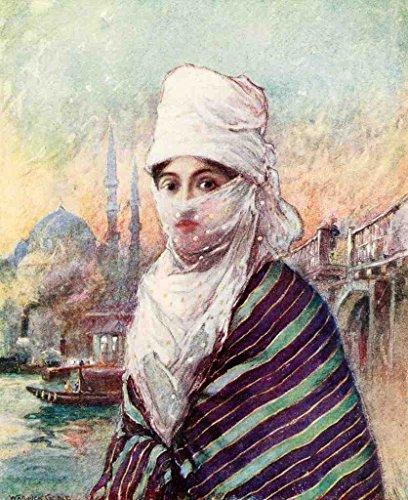 A4 foto Goble Warwick Turkije 1911 Turkse Dame In Outdoor Jurk Poster