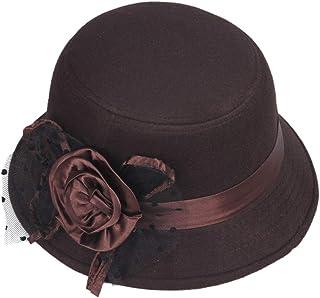L.W.SURL Wool Boater Flat Top Hat For Womens Felt Wide Brim Fedora Hat Laday Prok Pie Chapeu de Feltro Bowler Gambler Top Hat Color : Coffee, Size : 57-58cm