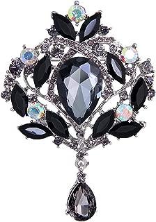 Yilanair Wedding Bridal Big Crystal Rhinestone Bouquet Brooch Pin for Women