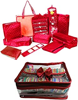 atorakushon Satin Maroon 11 Piece Make-Up Pouch Organizers Full Bridal Dulhan Set Garments Cover for Women and Girls