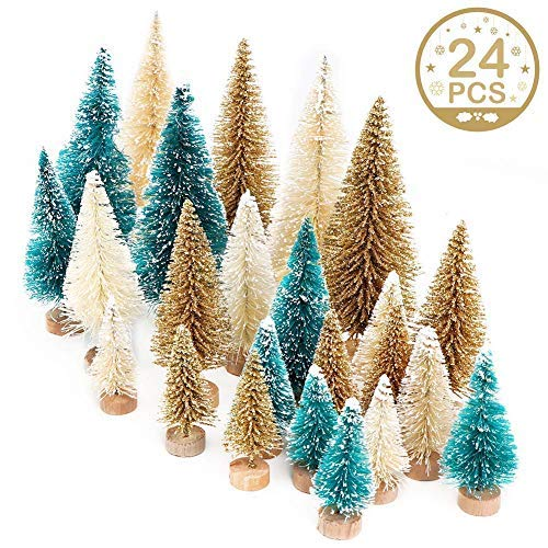 AerWo 24PCS Artificial Mini Christmas Trees, Sisal Trees with Wood Base Bottle Brush Trees for Christmas Table Top Decor Winter Crafts Ornaments Green, Gold and Ivory