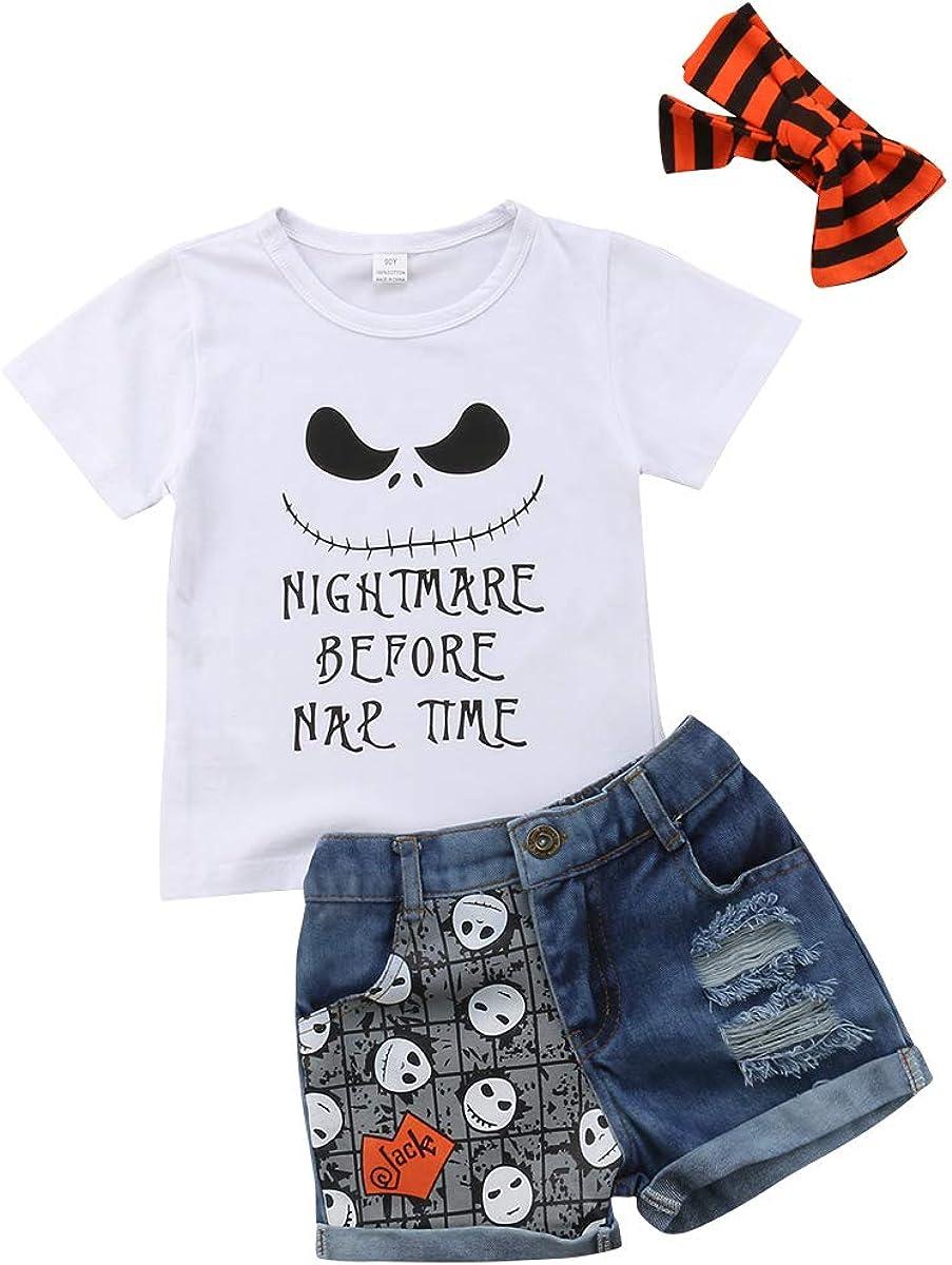 Halloween Toddler Baby Girl Short Sleeve Skull Letter T-Shirt Tops Denim Shorts Hairband Outfits