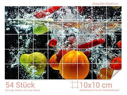 GRAZDesign Fliesenaufkleber Obst - Wasser für Kacheln Wand-Deko für Bad/Küchen-Fliesen (Fliesenmaß: 10x10cm (BxH)//Bild: 90x60cm (BxH))