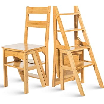 Geyao Escalera multifunción doméstica Taburete de madera maciza IKEA niños silla plegable escalera de cuatro pasos de uso doble escalera ascendente Madera color 38 × 39 × 60cm (Color : Wood color):
