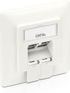 PureLink MCA200 - Caja de Conexiones Cat 6A (2 Tomas RJ45 Red, Ethernet blindada de 10 GB), Blanco, 1 Caja de Conexiones