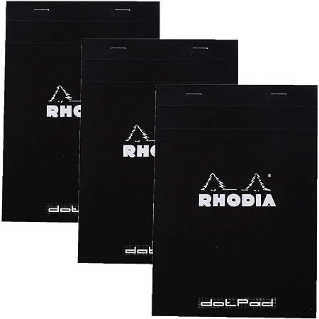 Rhodia No.16 A5 6 x 8 1/4 80 Sheet, Dot Pad, Black (16559), Pack of 3