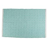 DII Contemporary Reversible Indoor Area Rug/Mat, Machine Washable, Handmade from Cotton, Unique For Bedroom, Living Room, Kitchen, Nursery and more, 2 x 3' - Aqua Diamond (Color may vary)