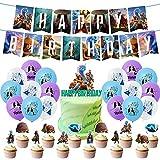 Raya y el último Dragón Decoraciones LLMZ Raya y el último Dragón Banderín Feliz Cumpleaños Party Decoration Cake Toppers para Fiesta Raya and The Last DragonTemática