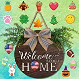 OurWarm Interchangeable Seasonal Welcome Door Sign Front Door Decor, Rustic Wood Round Wreath with Buffalo Plaid Bow Wall Hanging Outdoor Porch Holiday Decor for Housewarming Gifts,Christmas, Easter