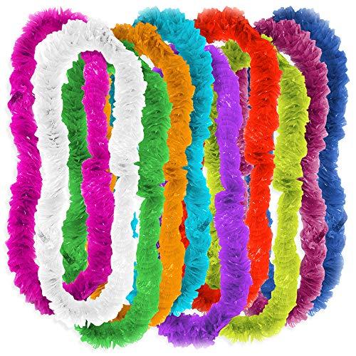The Twiddlers 100 Hawaiiketten Blumen-ketten Halskette Set – Hawaiianische Lei Luau Deko Für Jede Hawaii Girlande Beach-party Mottoparty Hawaiian Kleid Strand Multifarben Hula Girlanden