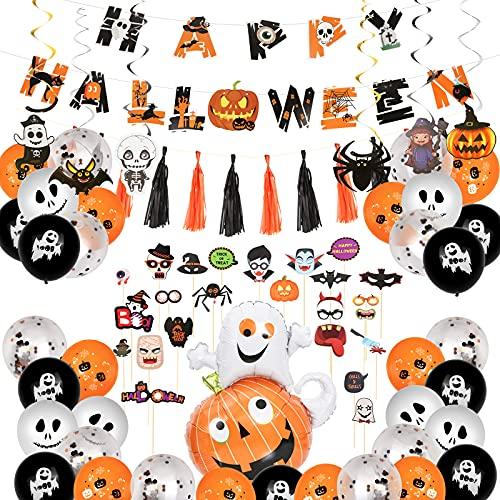 Decoracion Halloween Casa - Fiesta Halloween Decoracion, Halloween Globos Naranjas y Negros con Fantasmas, Happy Halloween Banners, Accesorios para Fotos, Globo de Látex, Accesorios