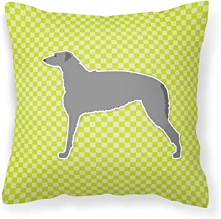 "Caroline's Treasures BB3796PW1414 Scottish Deerhound Checkerboard Green Pillow, 14"" x 14"", Multicolor"