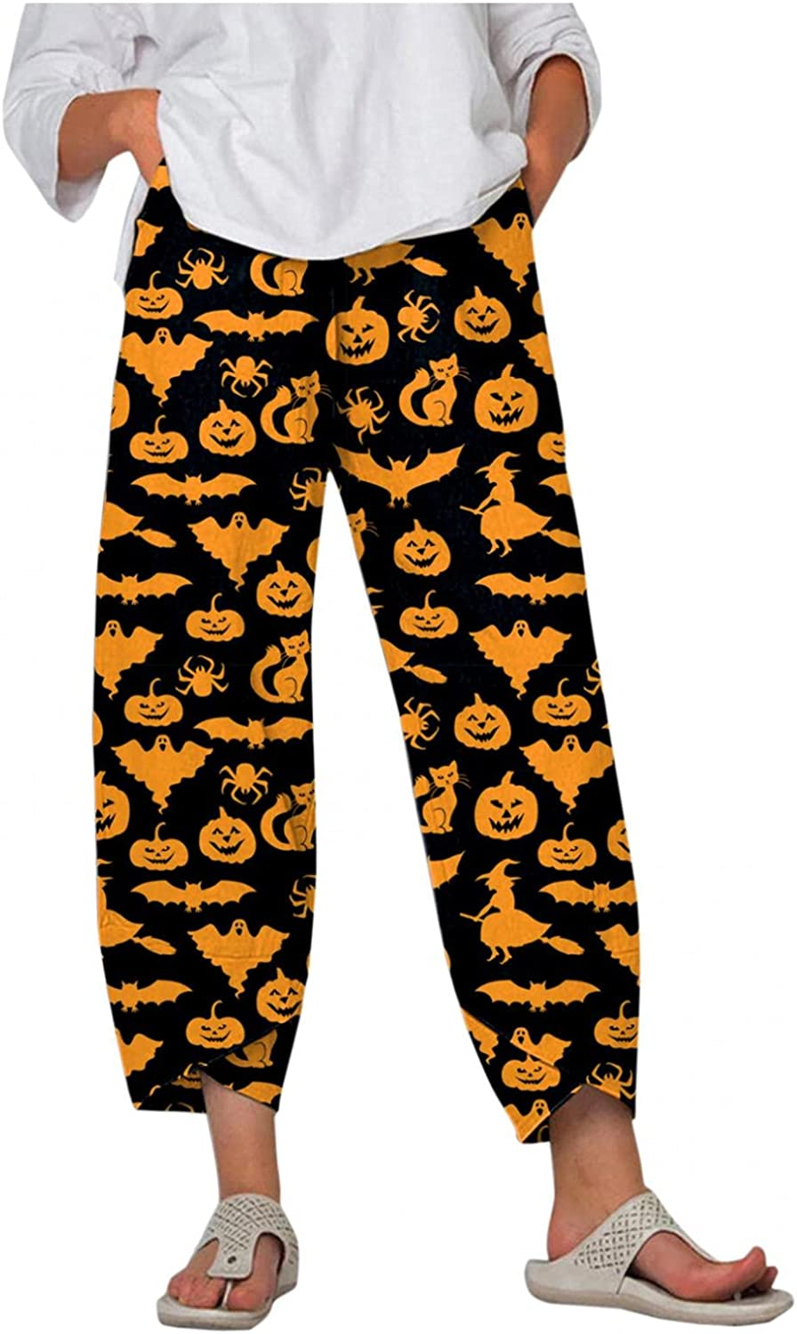 Womens High Waisted Halloween Print Crop Cone Pants Elastic Waist Comfy Wide Leg Long Trousers with Pockets