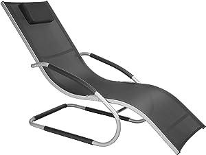 WOLTU LS004sz Sedia a Sdraio Relax Lettino Traspirante con Braccioli e Poggiatesta Tubo in Alluminio da Giardino Campeggio Balcone Nero