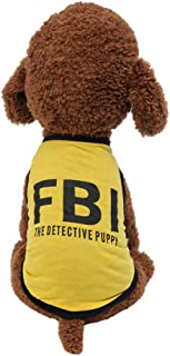 Puppy Vests,Dog Shirts,Cat Apparel,Pet Costumes for Boy Girl New Pet Spring and Summer Breathable Fashion FBI Print Vest Dog Cat Clothing for Teddy,Yorkie,Mini Pet Rabbit/Mini Pig