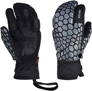 LANNIU Ski Gloves, Winter Gloves Men Waterproof, 3-Finger Mittens Winter Warm Gloves with Touchscreen for Cold Winter Outdoor Sports