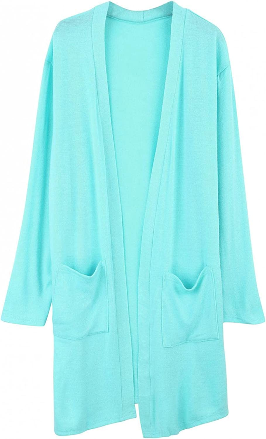 Women's Soft Long Sleeve Cardigans Solid Color Open Front Loose Sweater Side Slit Outwear with Pockets