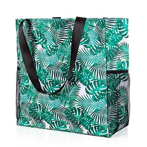 Comius Sharp Grande Borsa da Spiaggia, Borsa a Tracolla Shopper Borsa da Spiaggia in Tela con Tasche Multiple, Shopper Tracolla per Palestra, Escursionismo, Picnic, Viaggi (Green leaf)