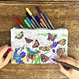 Eatsleepdoodle Butterfly Pencil Case to Color in, Fun Educational Butterflies of The World Design to Personalize, Washable Felt Tip Fabric Markers Included