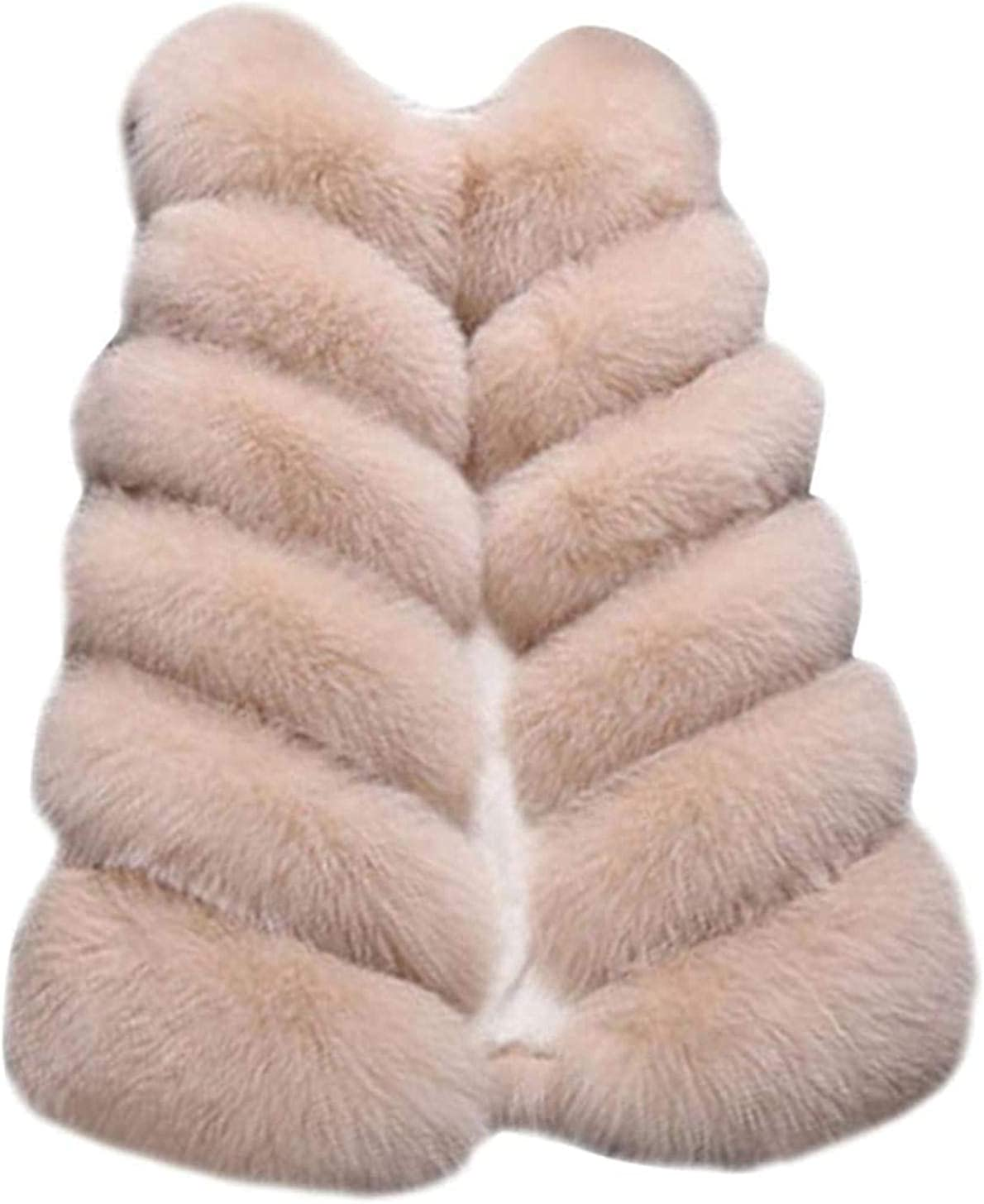 Faux Fox Fur Vest Women - Striped Faux Fur Gilet Outwear, Plus Size Elegant Slim Vest, Long Fur Coat Vest