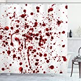 "Ambesonne Horror Shower Curtain, Splashes of Blood Grunge Style Bloodstain Horror Scary Zombie Halloween Themed Print, Cloth Fabric Bathroom Decor Set with Hooks, 70"" Long, Red White"