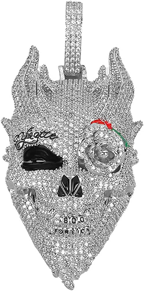 MLENS Hip Hop Iced Out Skull Head Pendant Chain Necklace 24K Gold or White Gold Plated Bling Lab Diamond Paved Rose Flower Eye Demon Necklaces with Rope Chain Jewelry Gift for Men