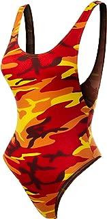 Women's Camo Print Scoop Neck Bodysuit Jumpsuit
